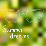 Sunglasses on bright summer background, summer Association, dreams about summer Royalty Free Stock Images