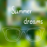 Sunglasses on bright summer background, summer Association, dreams about summer Stock Photos