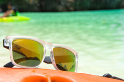 Sunglasses on Canoe Stock Image