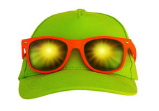 Sunglasses on the cap Royalty Free Stock Image