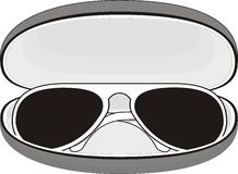 Sunglasses  in case. Sunglasses (white plastic frame) in a case on white background. Vector Royalty Free Stock Photo