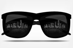 Sunglasses with the city in the background. vector Royalty Free Stock Image