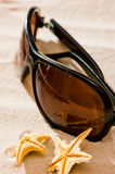 Sunglasses closeup on  beach and starfish Royalty Free Stock Photo