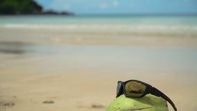 Sunglasses on coconut stock video