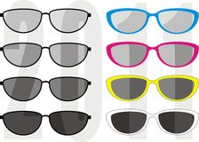 Sunglasses collection trend 2011. Isolated vector illustration - collection fashionable and sport sunglasses, different colors frames and UV - protection of Royalty Free Stock Photos