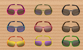 Sunglasses colored set. Vector Royalty Free Stock Photos