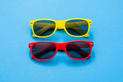 Sunglasses on colorful background with copy space Stock Photo