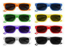 Sunglasses. Coloured sunglasses in different colours royalty free stock photography