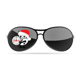 Sunglasses with cute animal and christmas clock vector Stock Image