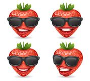Sunglasses 3d realistic fruit design strawberry cartoon character vector illustration Stock Image