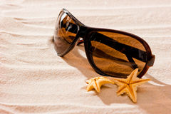 Sunglasses in dry  sand and starfish Stock Image