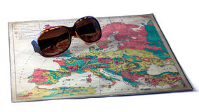 Sunglasses on Europe Map, Isolated Stock Images