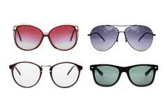 Sunglasses and eyeglasses collection. Sunglasses collection isolated on white background, Sunglasses photo set, violet, purple color royalty free stock image