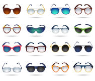 Sunglasses fashion reflection mirror icons set Royalty Free Stock Photos