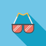Sunglasses flat icon with long shadow. Cartoon vector illustration royalty free illustration
