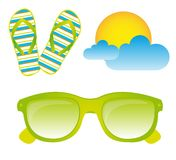 Sunglasses, flip flops, vector Royalty Free Stock Image