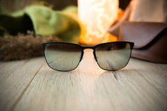 Sunglasses on the floor Royalty Free Stock Photos