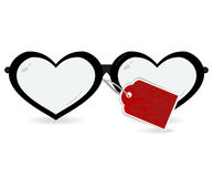 Sunglasses in the form of heart with label isolated on a white. Background . Vectir illustration Royalty Free Stock Photos