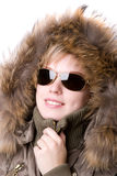 Sunglasses and fur collar Royalty Free Stock Photos