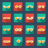 Sunglasses and glasses icons Stock Photography
