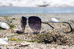 Sunglasses. Gray sunglasses on the sand of the sea Royalty Free Stock Image