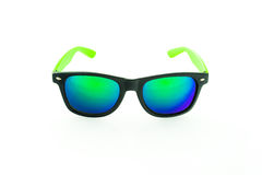 Sunglasses with green lenses on white background. Black sunglasses with blue lenses on a white background stock image
