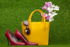 Sunglasses, handbag; and red shoes Royalty Free Stock Photos