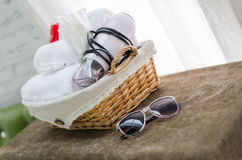 Sunglasses in hotel room. Sunglasses on the table in hotel room Stock Photo