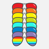Sunglasses icon. Glasses set with rainbow lenses. LGBT sign. Gay flag symbol. Flat design. White background. Isolated. Vector illustration Royalty Free Stock Image