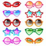 Sunglasses icon set. Vector illustration sunglasses icons. Ten multicolor set Stock Illustration