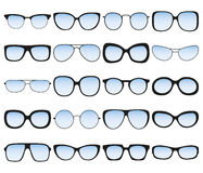Sunglasses icon set. Different spectacle frames and shapes Royalty Free Stock Photo