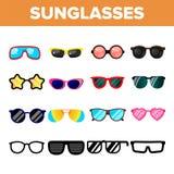 Sunglasses Icon Set Vector. Summer Beach Sunglasses Icons Silhouette. Elegance Wear. Sun Protection. Line, Flat vector illustration
