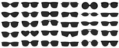 Free Sunglasses Icons. Black Sunglass, Mens Glasses Silhouette And Retro Eyewear Icon Vector Set Stock Photography - 151218572