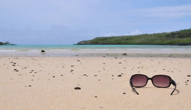 Sunglasses on an island beach Stock Photos