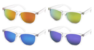 Sunglasses isolated on white background in various colors Royalty Free Stock Photo