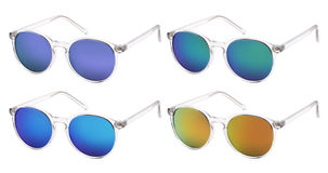 Sunglasses isolated on white in various colors Stock Images