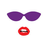 Sunglasses and lip face  Royalty Free Stock Images