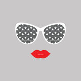 Sunglasses and lips.  Vector illustration.  Print for your T-shi Stock Photos