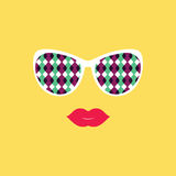 Sunglasses and lips.  Vector illustration. Print for your T-shir Stock Photography
