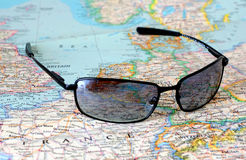 Sunglasses and map. Simple sunglasses on a map Stock Images