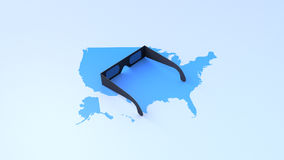 Solar eclipse glasses on map of USA Royalty Free Stock Photos