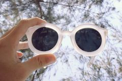 Sunglasses, modern style. Modern and vintage sunglasses, Hand holding over the sky, Pine branches Background, Process in vintage style color stock images