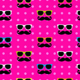 Sunglasses&moustache pattern Royalty Free Stock Image