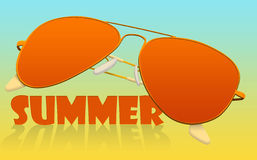 Sunglasses. Orange glasses with an inscription stock illustration