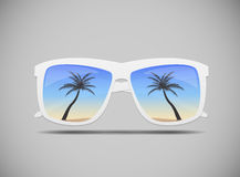 Sunglasses with a Palm Tree Vector Illustration Royalty Free Stock Image