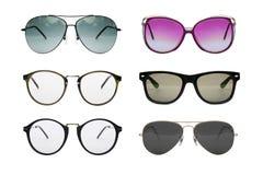 Sunglasses photo set. Eyeglasses collection isolated on white background, Sunglasses photo set stock images