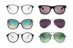 Sunglasses photo set. Eyeglasses collection isolated on white background, Sunglasses photo set royalty free stock photo
