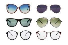 Sunglasses photo set. Eyeglasses collection isolated on white background, Sunglasses photo set royalty free stock images