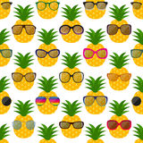 Sunglasses and pineapples seamless pattern. Vector illustration Stock Images