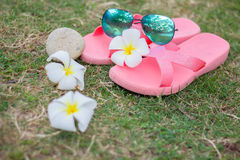 Sunglasses on pink slates Royalty Free Stock Images